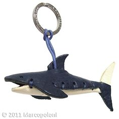 SQUALO - Shark Italian Leather Key Chain (Blue and White)