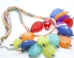 Check out multi colour chunky beads floating layered bead necklace bright colours drop necklace on heavenlycow