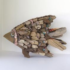 Driftwood Sculpture Fish Angelfish Shells. $125.00, via Etsy.
