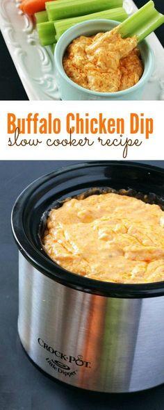 Buffalo Chicken Dip Easy Crockpot Recipe! Perfect game day recipe for the Super Bowl!