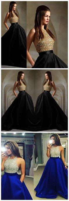 Halter Prom Dresses Backless, Ball Gown Party Dresses Long, Satin Tulle Formal Evening Dresses Beading Elegant