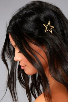 """Star light, star bright, wear this cute clip in your hair tonight! The Star Light Gold Hair Clip is a stylish star shaped hair accessory, made of brushed gold. Measures 1.75""""."""