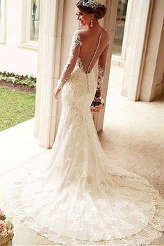 Robe de mariée sirène naturel avec manches vintage de traîne longue en tulle