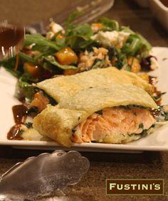 Salmon Wellington oh YUM!! #fustinify #garlic #lemon Lemon Olive Oil, Garlic Olive Oil, Sicilian, Balsamic Vinegar, Salmon, Seafood, Turkey, Meat, Chicken