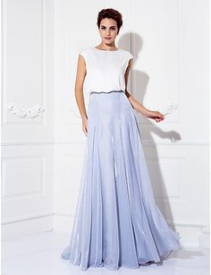 TS Couture Formal Evening Dress - Multi-color Plus Sizes / Petite A-line Jewel Sweep/Brush Train Tulle / Charmeuse - USD $ 67.49