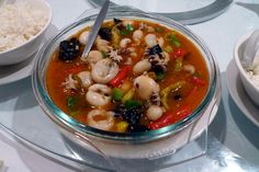 Chinese style hot and spicy seafood soup