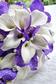 Calla lily and purple Vanda orchid teardrop bouquet - from Laurel Weddings