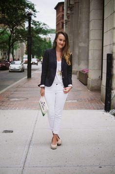 white skinny jeans + white v-neck tee + navy blazer + gold necklace + espadrille wedges