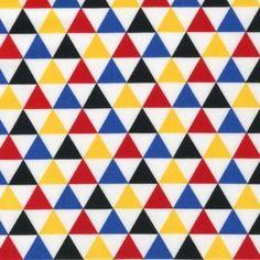 Traingle blauw-geel-wit-zwart-rood - Hotstof - Online stoffen en juwelen - Stoffenwinkel