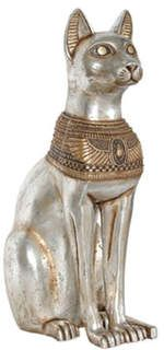 Egyptian Cat Statue Figure Goddess Sitting Gracefully Silver Gold New Egyptian Cat Goddess, Egyptian Mau, Egyptian Mythology, Life Size Statues, Cat Statue, Animal Statues, Ancient Artifacts, Ancient Egypt, Movie Props