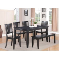The simple elegance, rounded edges and sleek black finish of the Parawood Dudley Black Rectangular Dining Table will add a touch of class to any room. The Parawood Dudley Black Rectangular Dining Table is perfect for intimate family g Dining Bench With Back, Kitchen Table Chairs, Kitchen Benches, Solid Wood Dining Chairs, Modern Dining Table, Dining Room Sets, Dining Table In Kitchen, Dining Room Chairs, Wooden Kitchen