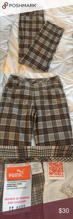 Men's Puma golf pants (32x32) Men's plaid golf pants from plums. Brown/orange/white plaid. Belt loops and front and back pockets. Size 32 waist, 32 length. 🏌🏽 Puma Pants