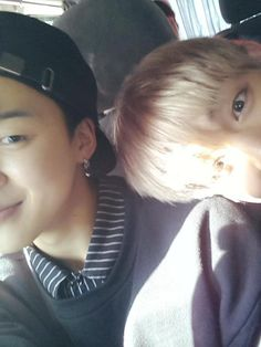 Jiminie and TaeTae being silly.  ChimChim looks so handsome here.