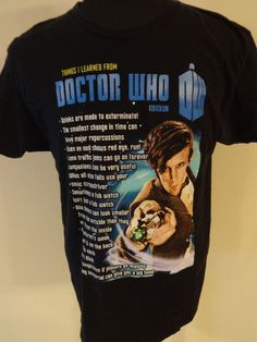 "Dr Who Large Short Sleeve ""Thing I Learned From Dr. Who"" T-Shirt  #DrWho #ShortSleeve"