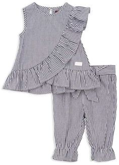 7 For All Mankind Girls Striped Tank & Pants Set - Baby Dresses Kids Girl, Kids Outfits, Short Pants Girl, Baby Girl Dress Design, Dress Anak, Western Tops, Baby Pants, Striped Tank, Nice Dresses