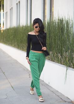 Green Sporty Pants. Black Off Shoulder Top. Urban Fashion. Urban Outfit