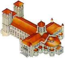 Dibujo de la catedral románica de Santiago de Compostela