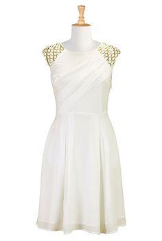 I <3 this Beaded crepe A-line dress from eShakti