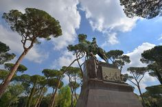 """DESPITE STRAIGHT LINES posted a photo:  Photograph taken at an altitude of Sixty nine metres at 09:11am on Saturday April 15th 2017 of 'Monumento a Umberto I', is a beautiful monument situated in the gardens of the Villa Borghese, Rome, Italy. The second King of Italy, Umberto I came to be known as """"The Good King"""" and was commemorated after his assassination by the anarchist Gaetano Bresci on July 29, 1900, in this bronze statue standing on a marble plinth in Parco di Villa Borghese…"""