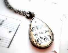 "Sheet Music Pendant. ""My Shadow"""