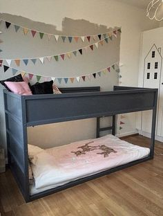 Ikea Kura bed painted in grey Kids Bedroom Paint, Kids Bedroom Boys, Boy Room, Kids Room, Ikea Bunk Bed Hack, Kura Ikea, Ikea Beds, Kura Hack, Deco Kids