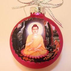 Buddha Shakyamuni on Hot Pink Glass Ball Christmas Ornament. Handmade with a vintage retro look.