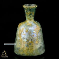 Ancient Roman Glass Bottle Highly Iridescent ~ Early Islamic Afghanistan.