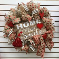 Excited to share the latest addition to my #etsy shop: Valentine's Deco Mesh Wreath, Deco Mesh Wreath, burlap Deco mesh Wreath, Home Make my Heart Smile, Valentines wreath