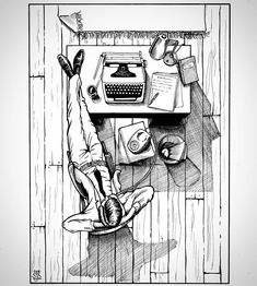 Here's a cool #officelife #pendrawing by Danny Banks (@dandraws96) of a businessman (journalist? writer?) kicking back for a few minutes while he takes a phone call. I thought this was a nice pic to share on a Monday morning because the guy just looks so relaxed... we'll get through the week folks just take it one day (and phone call) at a time.  The overhead view provides us with an interesting perspective on this scene. I love the long shadows that the objects cast onto the hardwood floor…