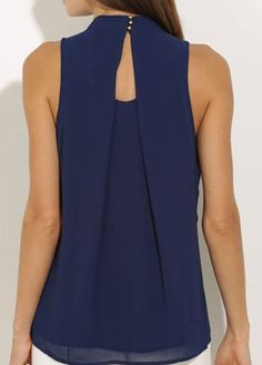 Navy Blue High Neck Chiffon Blouse