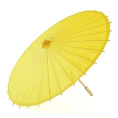 Paper Parasol Umbrella with Bamboo Boning - Lemon Yellow - The Knot Shop