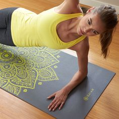 Our Premium Citron Sundial Yoga Mat provides a stable, non-slip surface for your practice.