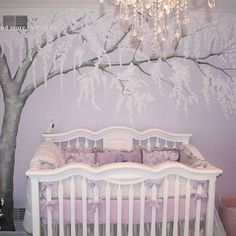 Really amazing #nurserymural! 😍 Repost from @muralsbypatrice - I get emails about this bedding at least once a week. It's by @carouseldesigns and the crib is @romina.furniture You can contact both for more information. The tree was hand painted by me and is filled with Swarovski crystals. It is not a decal. #nursery #handpainted #cherryblossom #nycbaby #nyckids #njbaby #interiordesign #interiors #asidnymetro #swarovski #custom #kidsmural #mural #artist #nycmoms #nycdads #ues #uws #tribeca…