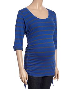 Love this Royal & Charcoal Stripe Side-Tie Maternity Top - Women on #zulily! #zulilyfinds