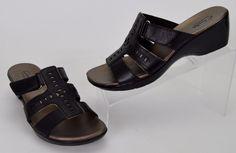Clarks Bendables Women's Size 8.5 M Black Leather Wedge Slides Sandals #Clarks #Slides #Casual