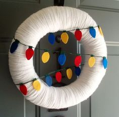 Yarn Wreath Felt Handmade Holiday Door - Light It UpChristmas 12in