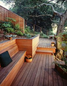 Deck Design For A Perfect Outdoor Space Hillside Deck, Hillside Landscaping, Landscaping Ideas, Landscape Plans, Landscape Design, Deck Design, Garden Design, Orangerie Extension, Wood Retaining Wall