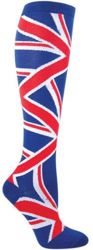 Union Jack British flag knee high socks. These Union Jack knee high socks are ace! Fits women's shoe size 5-10.