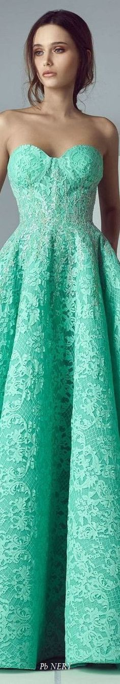 A precursor to Spring's turquoises. Far too cool and far too blue for Spring. A harder, more jewel-like version of Light Summer's seafoams and spearmints but would never be mistaken for one of them. Couture Fashion, Runway Fashion, Spring Fashion, Fashion Trends, Saiid Kobeisy, Green Queen, Forever Green, Evening Dresses, Evening Attire
