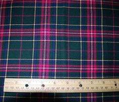 vintage Pendleton plaid wool - forest green & hot pink