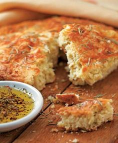 Focaccia - Almond Flour, Dry Curd Cottage Cheese, Baking Soda, Sea Salt, Black Pepper, Cheddar Cheese, Eggs, Scallions, Rosemary - Low Carb, SCD Legal, Grain Free, Gluten Free