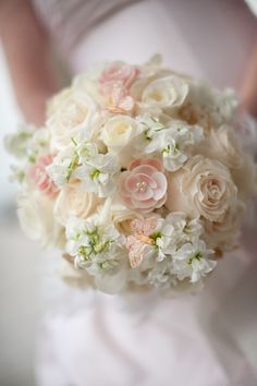 Gorgeous wedding bouquet in pink and cream.