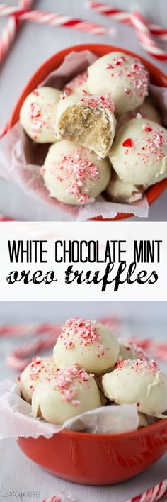 An easy, fun, no bake Christmas dessert — these White Chocolate Peppermint Oreo Truffles are only 4 ingredients and are perfect for those holiday baking trays!
