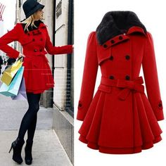 Stylish Lady Women Casual Long Sleeve Faux Fur Lapel Double-Breasted Thick Wool Coat Overcoat Jacket Trench Outwear