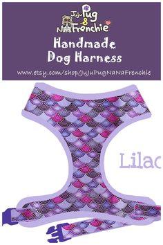 Mermaid Scales dog harness, Girl dog harness, Handmade custom dog harness #pugharness #dogharness #Frenchbulldog #Frenchieharness #purpledogharness