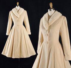 RESERVED 40s 50s Princess Coat / 1940s 1950s Cream Cotton VELVET Dress Coat White Blonde MINK Fur Collar Full Swing Skirt Pinup Xs Small S