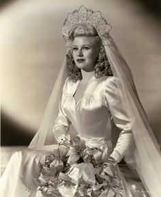 Ginger Rogers, photo by John Miehle Bride, vintage wedding gown, dress Chic Vintage Brides, Vintage Wedding Photos, Vintage Bridal, 1940s Wedding, Vintage Weddings, Silver Weddings, Country Weddings, Style Vintage, Lace Weddings