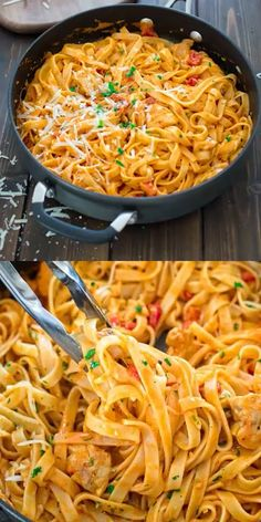 CHICKEN FETTUCCINE This elegant and creamy Pasta with Chicken and Roasted Pepper Sauce is made in under 30 minutes and requires just 6 ingredients. Your guests and family members will love it! Make this easy pasta dinner today! Easy Dinner Recipes, Easy Meals, Easy Snacks, Chicken Fettuccine, Chicken Alfredo, Penne Alfredo, Shrimp Pasta, Pasta Fettucine, Spicy Pasta