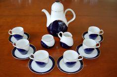 15 piece Heinrich Germany Cobalt Blue Gold and White Demitasse Tea Set, Mid Century Coffee Set - SOLD! :)