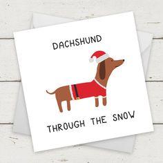 "Christmas Card Dog ""Dachshund Through The Snow"" - Card for Girlfriend - Card for Boyfriend - Xmas card - Funny Christmas Card by CoolSourceCards Funny Christmas Gifts, Christmas Gifts For Boyfriend, Christmas Dog, Christmas Humor, Xmas Gifts, Christmas Dachshund, Disney Christmas, Christmas Ideas, Christmas Crafts"